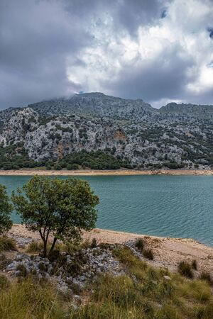 Picturesque landscape with a lake Cuber in the mountains of Tramontana on the island of Mallorca