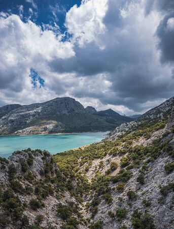 Picturesque landscape with a lake in the mountains of Tramontana on the island of Mallorca