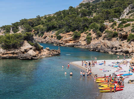 Mallorca, Spain - 03.06.19: Playa de Olia public beach