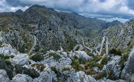 Winding highway in the mountains on the island of Mallorca