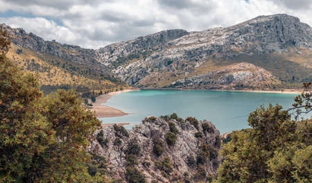Picturesque landscape with a lake in the mountains on the island of Mallorca