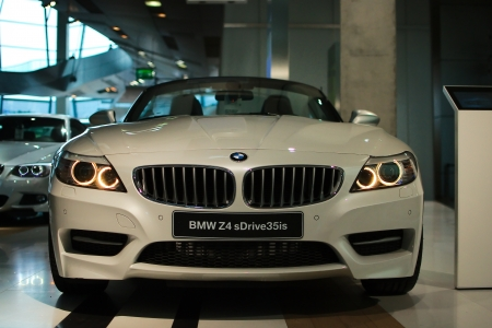 MUNICH - SEPTEMBER 19: New model BMW Z4 at BMW Welt Expo center on September 19, 2012 in Munich Editorial