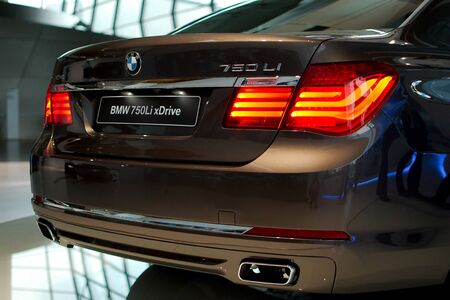 MUNICH - SEPTEMBER 19: New model BMW 750Li at BMW Welt Expo center on September 19, 2012 in Munich