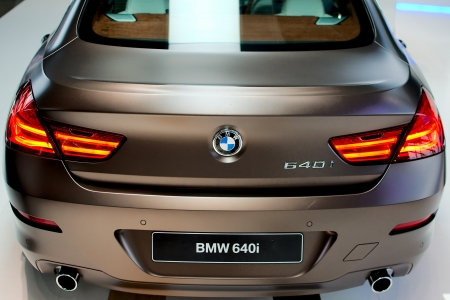 MUNICH - SEPTEMBER 19: New model BMW 640i at BMW Welt Expo center on September 19, 2012 in Munich Editorial