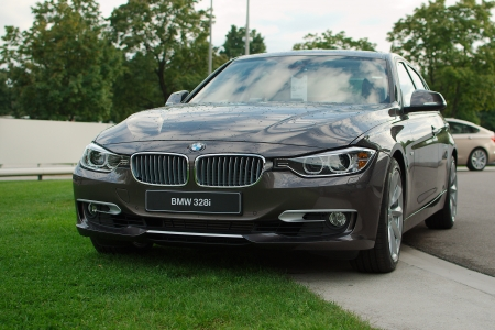 MUNICH - SEPTEMBER 19: New model BMW 328i at BMW Welt Expo center on September 19, 2012 in Munich Editorial
