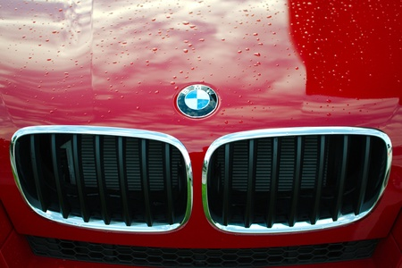 MUNICH - SEPTEMBER 19: BMW logo on new model at BMW Welt Expo center on September 19, 2012 in Munich