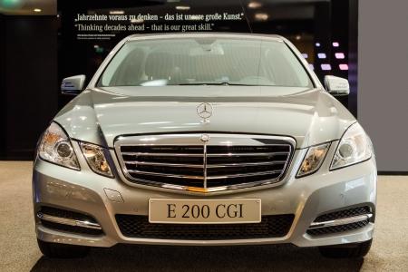 BERLIN - MARCH 16: New model Mercedes-Benz E 200 CGI at Mercedes-Benz Gallery on March 16, 2013 in Berlin Editorial