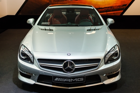 BERLIN - MARCH 16: Fourth generation of Mercedes-Benz SL 63 AMG at Mercedes-Benz Gallery on March 16, 2013 in Berlin