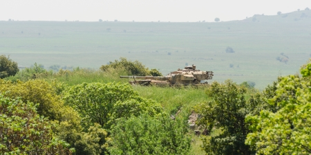 Israeli tank watch standby alert in high grass at boundary area