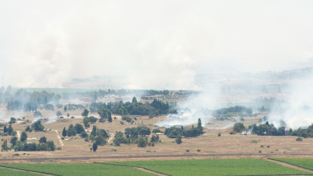 the golan heights: JUNE 06: After artillery fire in Syria Al Qunaytirah on Golan Heights on June 06, 2013 in Al Qunaytirah, Syria Editorial