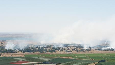 JUNE 06: Battle in Syrian city Quneitra near Israeli border on June 06, 2013 in Quneitra, Syria