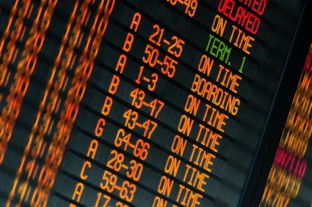 Led scherm om het schema van de vluchten vertrekken in de internationale luchthaven