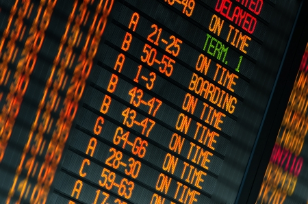 Led screen schedule of flights departures in the international airport