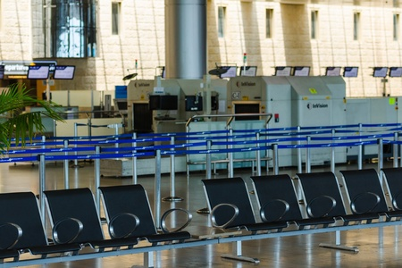 shabbat: TEL AVIV - JULY 06, 2013: Empty hall of passenger terminal #3 in Israeli international airport Ben-Gurion on Saturday (Shabbat) on July 06, 2013 in Tel-Aviv, Israel Editorial