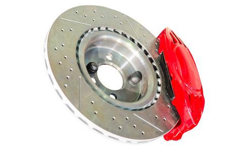 brake caliper: Assembled caliper disc and pads of mechanical car brake system