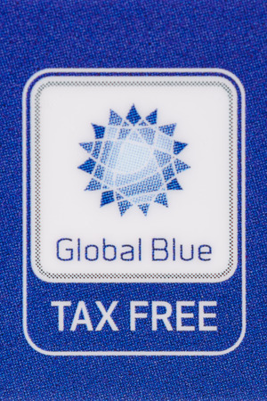 MUNICH, GERMANY - FEBRUARY 24, 2014  Macro logo Tax Free  Global Blue  company on plastic card