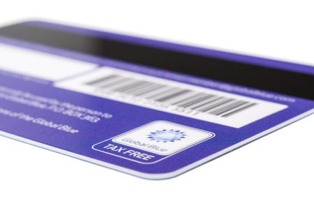 MUNICH, GERMANY - FEBRUARY 24, 2014  Backside of Tax Free plastic card  Global Blue  with logotype  Isolated on white