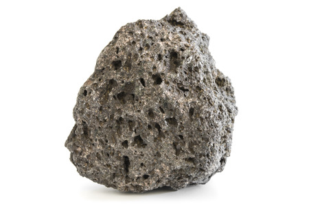 Pumice rough textured volcanic mineral isolated on white with shadow Stock Photo