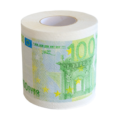 Toilet paper roll of 100 Euro bank notesl isolate on white background