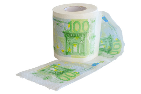 subsidy: Banknotes 100 Euro printed on the toilet paper roll isolate on white Stock Photo