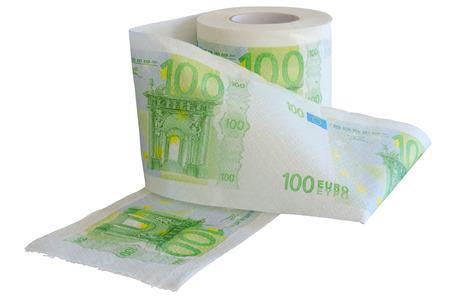 depreciation: Devaluation - money depreciation  European banknotes looking like toilet paper roll