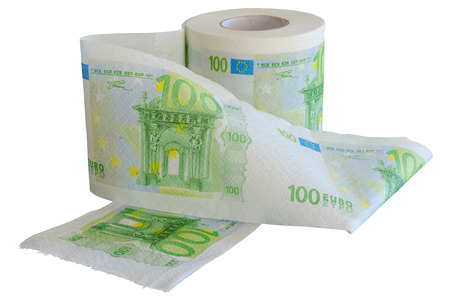 Roll of 100 Euro bank notes toilet paper isolated on white background