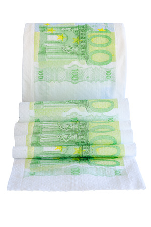 unwound: Unwound toilet paper roll with printed on 100 euro bank notes isolate