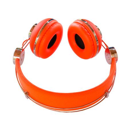 Vivid orange headphones smile isolated on white background