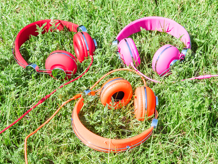 sward: Set of three varicolored colorful headphones on sunlight fresh green sward