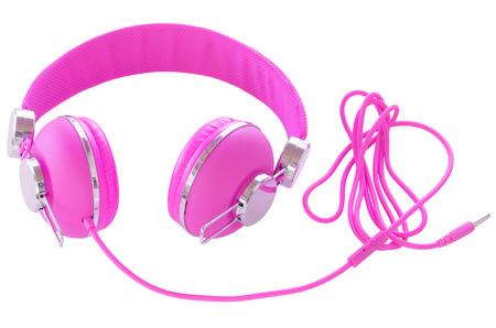 Heldere neon gekleurde paars vrouwelijke hoofdtelefoons violet geïsoleerd op wit