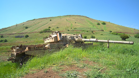 Hero of the Six Day War Centurion Shot Kal Israeli tank on emplacement  HDR photo  photo