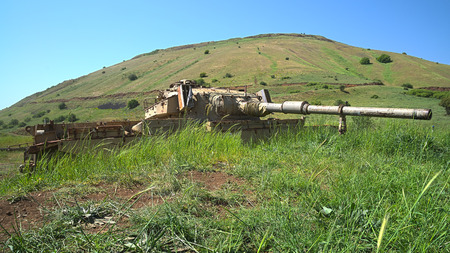 Derelict old Israeli tank on Golan Heights emplacement  HDR photo  photo