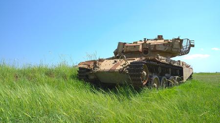 Rusty heavy tank near the Israeli Syrian border  HDR photo  photo