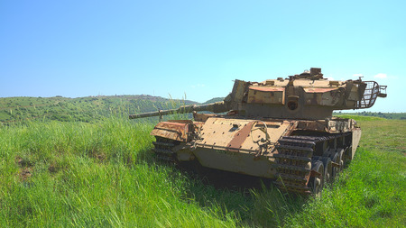 Old Israeli tank Centurion Shot Kal on Golan Heights after six day war  HDR photo  photo