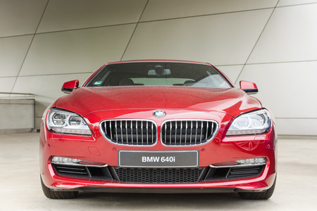 MUNICH, GERMANY - AUGUST 9, 2014: New modern model of BMW 640i first class exclusive business sedan car. Editorial
