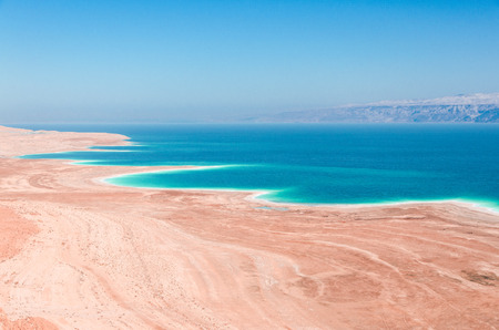 sea: Dead Sea coastline in desert uninhabited extraterrestrial landscape aerial view