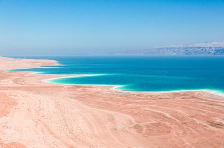 Dead Sea coastline in desert uninhabited extraterrestrial landscape aerial view