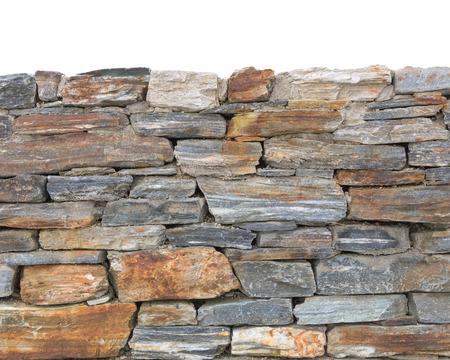 Onderste zijrand deel van stenen muur achtergrond met ruwe steen textuur die op de top