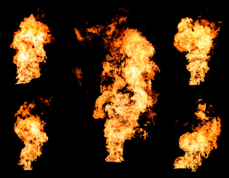raging: Blazing fire raging flame of burning gas or oil photo set isolated on black background