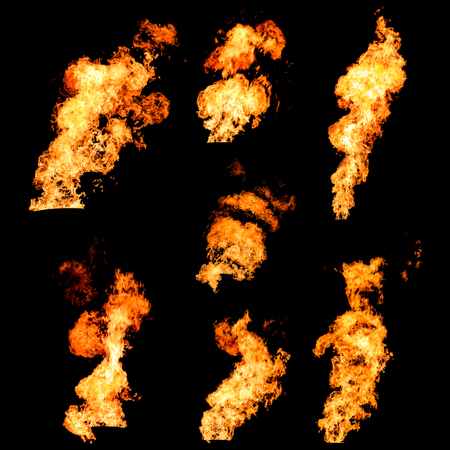 firestorm: Raging fire tongues and spurts of flame texture photo set isolated on black background