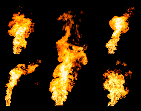 Set of gas flares blazing fire spurts and glowing flames photo set isolated on black background