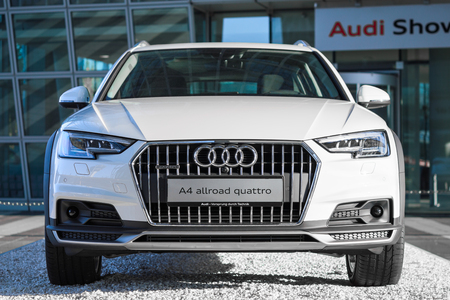 4wd: Munich, Germany - May 6, 2016: Audi A4 allroad quattro is new modern SUV car model with four wheel drive system and powerful diesel engine.
