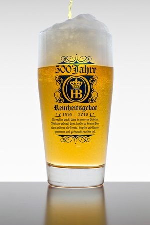 manifest: Munich, Germany - June 11, 2016: The 500 years of Reinheitsgebot - German Beer Purity Law - series of regulations limiting ingredients in beer production. According to 1516 Bavarian law only water barley and hops could be used. Editorial