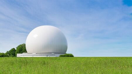 Big sphere of radar as part of big complex earth stations and ground terminals for radio communication and wireless data broadcasting Stock Photo