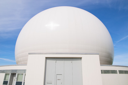 Big cupola of radiolocation terrestrial station radar antenna for radio satellite communications and telecommunication with orbital spacecrafts space observation and exploration Stock Photo