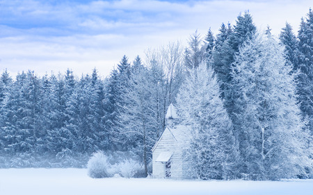 Idyllic serene winter landscape with snowy frosty forest and snowbound small woody chapel on snowfield. Blue and white filtered and toned panoramic stock photo. Stock Photo