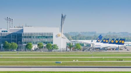 Munich, Germany - May 6, 2016: Munich Airport serves as the secondary hub for Lufthansa including Lufthansa Regional and its Star Alliance partners.