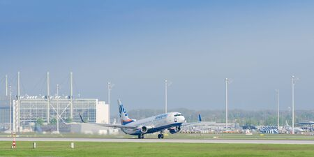 Munich, Germany - May 6, 2016: Plane Boeing 737-800 of SunExpress - German leisure airlines take off from Munich international airport.