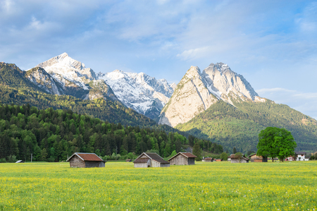 Bavarian serene landscape with snowy Alps mountains ridge and spring flowering pasture in valley. Springtime morning panoramic scenic view stock photo captured from Garmisch-Partenkirchen side. Stock Photo