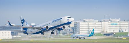 turbojet: Munich, Germany - May 6, 2016: Airplane Boeing 737-800 of SunExpress Deutschland - German leisure airline, taking off from Munich international airport.